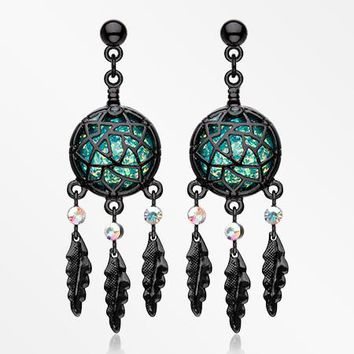 A Pair of Blackline Opal Dreamcatcher Feather Earring