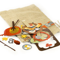 Fall Themed Chipboard Shapes With Foil Accents, 36 Pieces