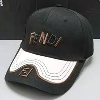 Fendi Fashion New Embroidery Letter Leaf Women Men Sunscreen Leisure Cap Hat Black