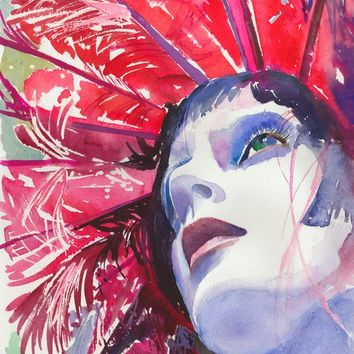 Fashion Print of Watercolour Painting, Watercolor Fashion Illustration. Titled: Red Feathers.