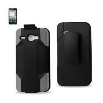REIKO ALCATEL ONE TOUCH SONIC LTE HYBRID HEAVY DUTY HOLSTER COMBO CASE IN GRAY BLACK