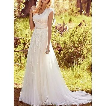 A-Line V Neck Sweep / Brush Train Lace / Tulle Regular Straps Vintage Illusion Detail Made-To-Measure Wedding Dresses with Buttons / Sashes / Ribbons 2020