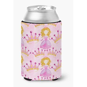 Watercolor Princess and Crown Can or Bottle Hugger BB7551CC