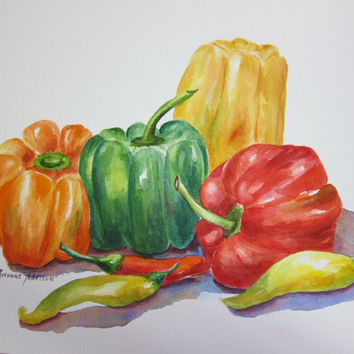 Vegetable, Fruits Original Watercolor paintings 3 Choices Pick one watercolorsNmore Kitchen