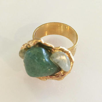 Modernist Ring, Glass Jade with Pearl, 1950s Vintage Jewelry