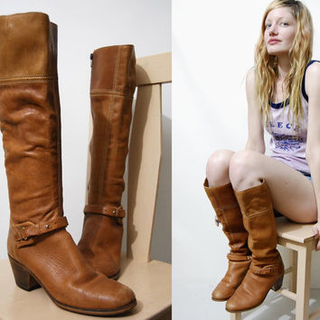 70s Vintage BOOTS Tan Leather Knee High Riding Harness Ankle Belt/Strap Boho Bohemian Hippie Western Womens Shoes 1970s vtg 8