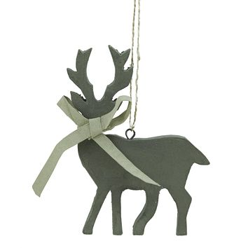 "4.75"" Simply Natural Gray Deer Silhouette Wooden Christmas Ornament"