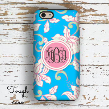 Monogram iphone 6s case, Flower Iphone 5c case, Floral iPhone 5 case, Women's iPhone 6+ case, Floral Tech accessories Blue pink green (9951)