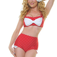 Red & White Polka Dot Shirley Swimsuit Bottom - Unique Vintage - Cocktail, Evening, Pinup Dresses