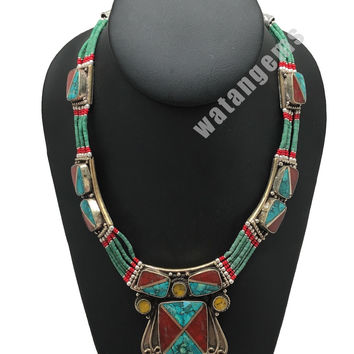 Ethnic Tribal Red Coral & Green Turquoise Inlay Boho Statement Necklace, NPL152