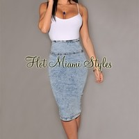 Light Acid Wash Pencil Skirt