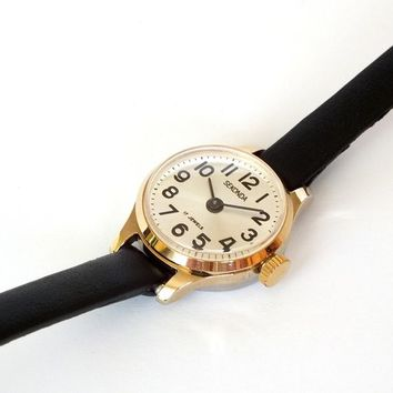 Small Womens Watch Sekonda 17 Jewels. Gold Plated Vintage Ladies Cocktail Watch 80s. Small Soviet Russian Watch For Women. Gift for Her.