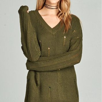 Relaxed V-Neck Sweater- 4 Colors!