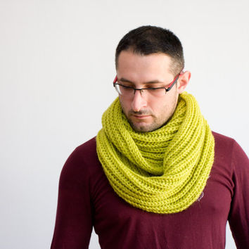 Chartreuse Infinity Scarf, Green Unisex Knit Cowl Scarf, Winter Hooded Cowl for him or her, burgundy ohtteam lime mojito