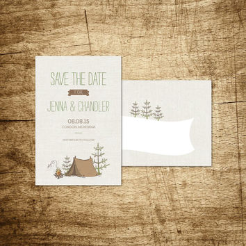"Printable Save the Date Postcard - Camp Etsy - Hand Drawn Campsite with Fire Whispering ""Love"""