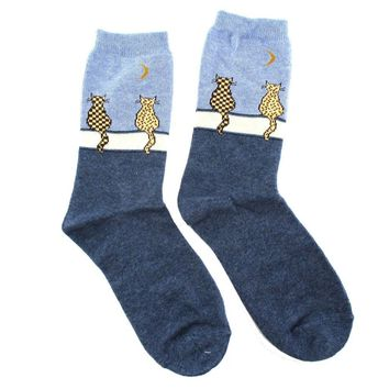 Kitty Cat Sitting on A Wall Silhouette Print Socks for Women in Blue