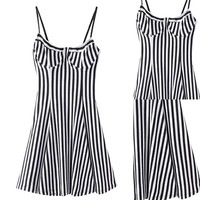 Striped Spaghetti Strap Backless Mini Slip Dress