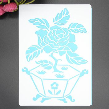 Flower Pot Heart Masking Spray Stencil For Walls Painting Embossing Paper Crafts Scrapbook Stamp DIY Tools Photo Album Card