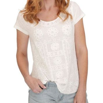 ICIKAB3 Lucky Brand  Embroidered Tee Lucky White