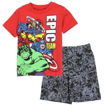 AVENGERS Boys 2-Piece French Terry Short Set. 2-4T. Marvel Avengers