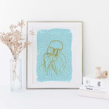 Light Blue Jellyfish Modern Painting Wall Art Print or Canvas