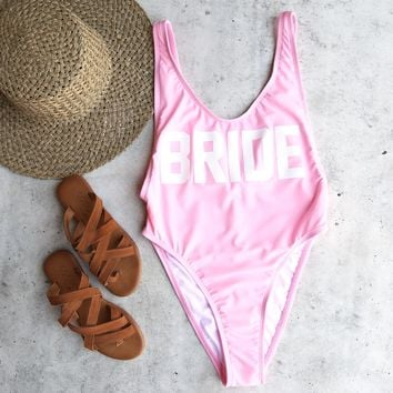 grl gng collection - bride high cut vintage one piece - bright baby pink