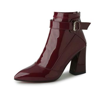 Burgundy Pointed Toe PU Patent Leather Women Shoes Zipper Square High Heel Ankle Boots Women Motorcycle Boot Size 34-43