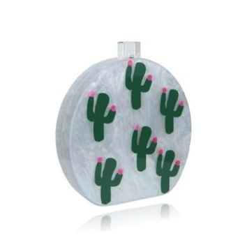 Round Tropical Acrylic Box Clutch