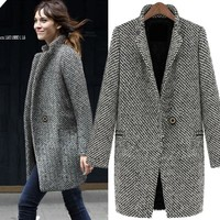 Winter Trench Coat Women Grey Medium Long Oversize Overcoat Warm Woolen jacket Slim Jacket European Overcoat drop shipping