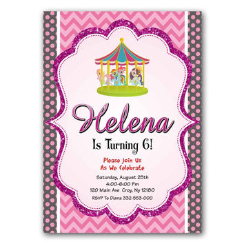 Carousel Pink Polka Dot Kids Birthday Invitation Party Design
