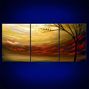 original art abstract metallic gold landscape painting modern abstract silhouette tree landscape painting 33 x 14 Mattsart