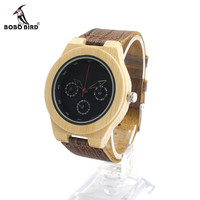 Mens Wooden Bamboo Watch with Leather Band Water Resistant Wristwatch Timepiece for Mens Womens in Box