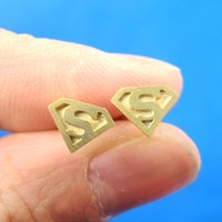 Superman Symbol Super Hero Logo Stud Earrings in Gold | Allergy Free