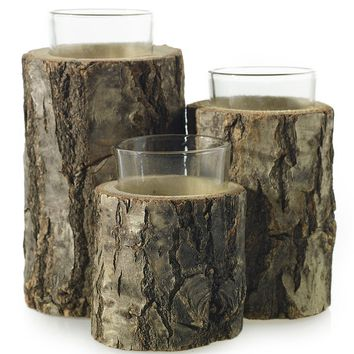 "3-Tiered Oak Wood Candle Holder with Glass Tealight - 6.75"" Tall"