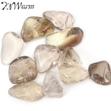 KiWarm Overvalue 10Pcs Smokey Color Quartz Tumblestones Crystal Gemstone for Terrarium Fish Tank Plant Potting Home Decor Craft