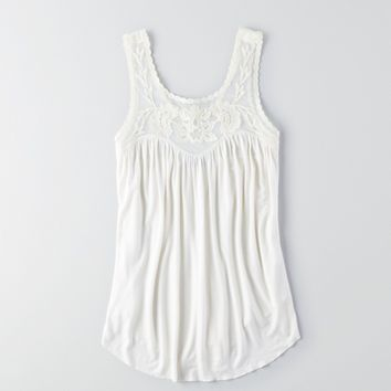 AEO EMBROIDERED DRAPEY TANK