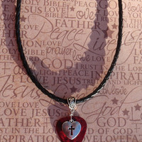 Heart Cross Necklace, Christian Guitar Pick Jewelry Tibetan Silver Braid Bail, Choice 12 Colors & Size Chain, Easter Religious Inspirational