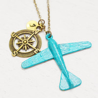 personalized airplane necklace,aviation pilot gift,best friend jewelry,friendship compass,travel necklace,initial necklace,rustic plane gift