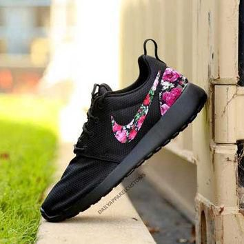 Custom TRIPLE BLACK Floral Roses Nike Roshe Run Shoes Fabric Pattern Men's Women's Bir