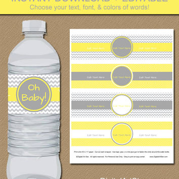 Chevron Water Bottle Labels - DIY EDITABLE in Adobe Reader - Printable Baby Shower Water Wrappers - Yellow Gray - Instant Download