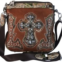Montana West Cross Body Bag Faux Leather Purse with Camo Trim and Rhinestone Cross Handbag- Available in Choice of Colors