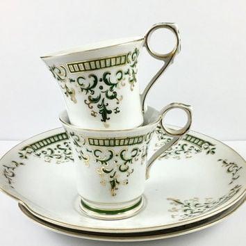 2 Dessert Snack Sets, Vintage Tea Cups and Plates, Green, China Teacup Set Retro Luncheon Set, Tea for Two, Bridal Shower/Wedding Gift
