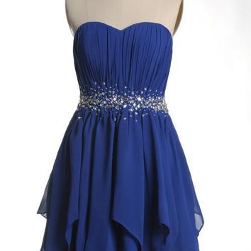 ZJ0018 2014 new arrival short royal blue sweetheart elegant party cocktail dresses maxi beaded plus size formal sexy