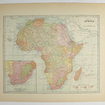 Vintage Map of Africa 1896 Antique Africa Map, African Decor Gift for Couple, Old Color Map, Africa Gift for Friend, Africa Wall Art