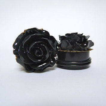 "Black Rose Plugs. 3/4"" / 19mm, 7/8"" / 22mm, 1"" / 25mm plugs for stretched ears by Gauge Queen on Etsy"