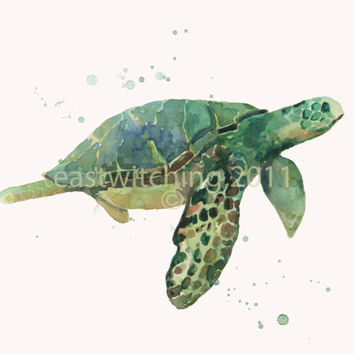 Watercolor Sea Turtle Print  8x10 inches  Riding by eastwitching
