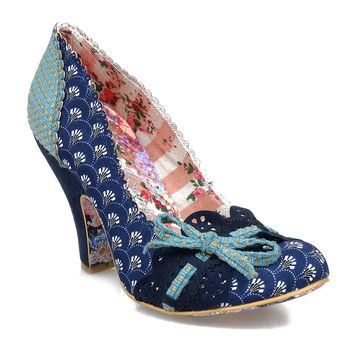 Irregular Choice Navy Scalloped Lace Make My Day Pumps