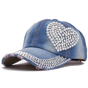 Women Denim Casual  Adjustable Baseball Caps Rhinestone Heart Shape Snapback Hats for women baseball cap