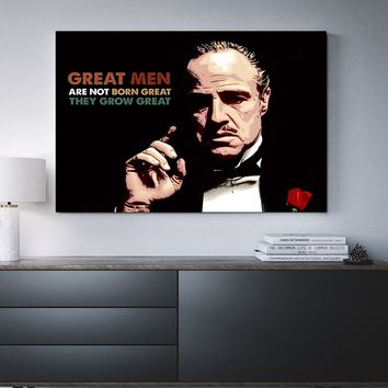 Great Men Are Not Born Great Godfather Quote Framed Canvas Wall Art