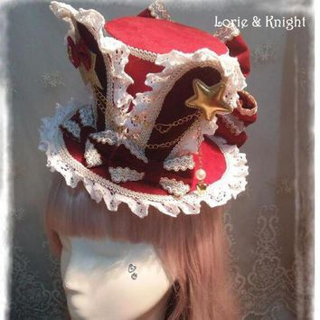 Diy Alice In Wonderland Inspired Rabbit Ear Lolita Cosplay Mini Top Hat White & Red - Beauty Ticks
